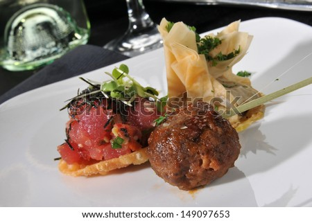 A plate of assorted gourmet appetizers
