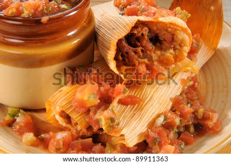 A plate of beef tamales and salsa - stock photo