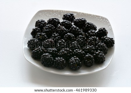 A plate of blackberries isolated on white background