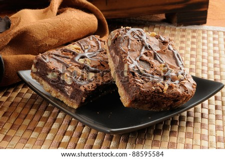 A plate of chocolate brownies