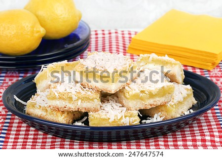 A plate of coconut lemon bars, selective focus.