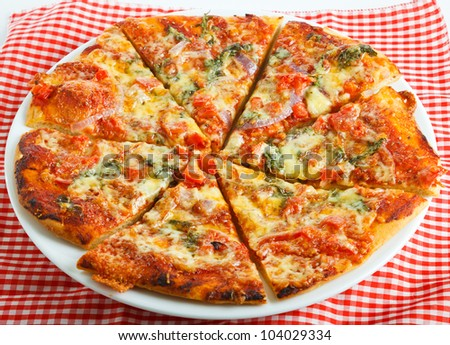 A plate of delicious homemade round pizza on a checkered table cloth - stock photo