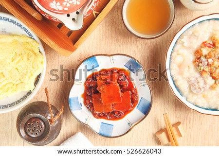 A plate of fermented bean curd on the dinner table