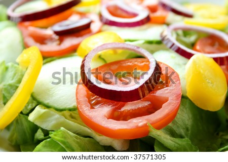A plate of fresh chopped salad - stock photo