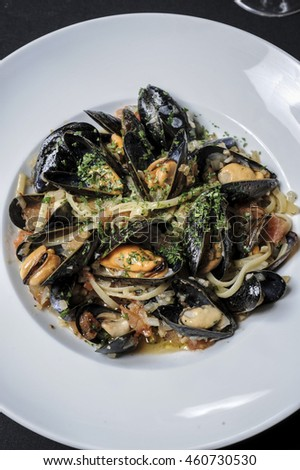 A plate of mussels steamed in wine