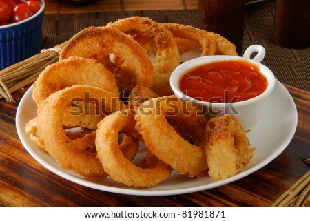 A plate of onion rings with catchup - stock photo