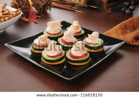A plate of party canapes with crackers, cucumbers, radishes and salmon cream cheese - stock photo