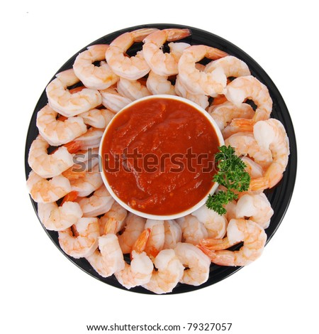 A plate of shrimp cocktail from above - stock photo