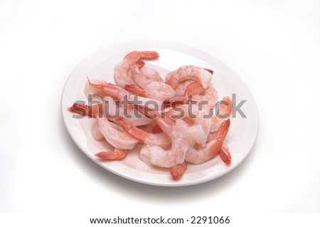 A plate of shrimp on a white background.