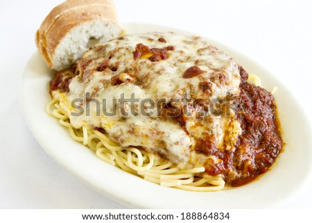 A plate of spaghetti. - stock photo