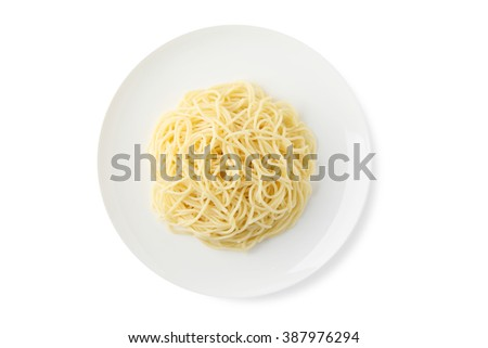 A plate of spaghetti pasta isolated on white background. - stock photo