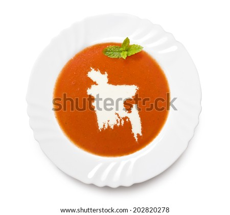 A plate tomato soup with cream in the shape of Bangladesh.(series) - stock photo