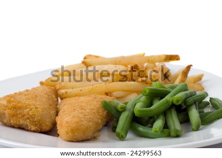 A plate with battered fish, french fries, and green beans, isolated against a white background