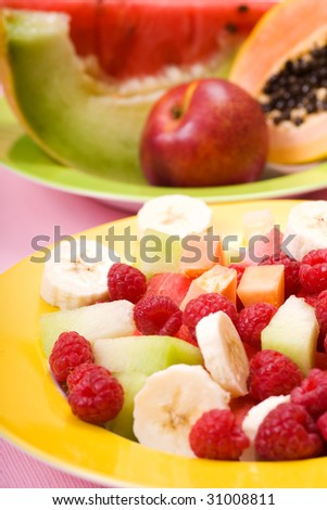a plate with several fruits