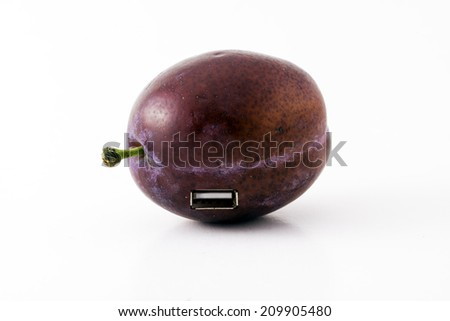 a plum with a USB-port, the evolution of the fruit - stock photo