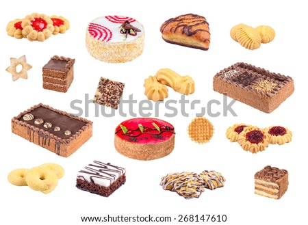 A plurality of confectionery. Cakes, cookies, desserts, pastries. Pastry shop. Sweets on a white background. Cakes isolated on white background.