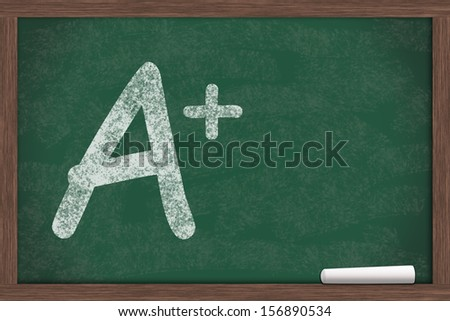 A plus written on a chalkboard, Getting great grades - stock photo