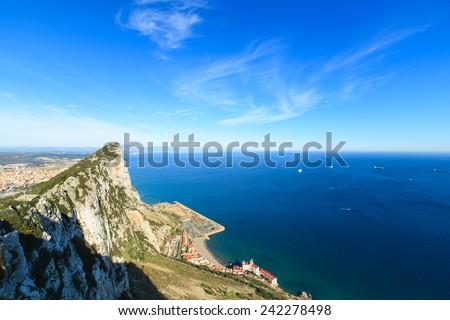 A pnaorama of Gibraltar city  - stock photo