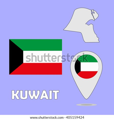 A pointer map and flag of Kuwait - stock photo