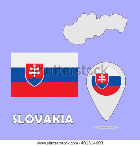 A pointer map and flag of Slovakia