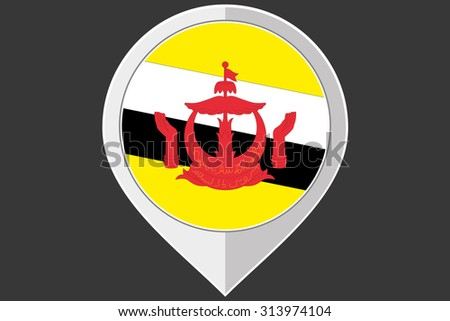 A Pointer with the flag of Brunei - stock photo