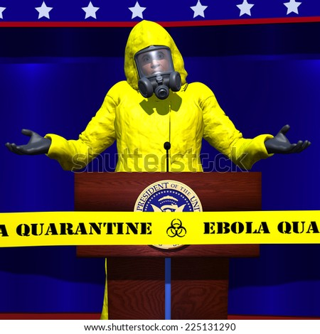 A political figure wearing a hazmat suit is shrugging his shoulders at a speech about Ebola.  He is behind a Ebola Quarantine tape. Political - stock photo