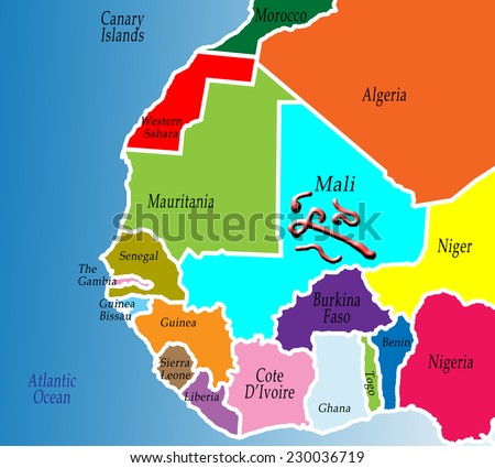 A Political Map Of West Africa. Colorful, Bright, Simple. Ebola Virus Over