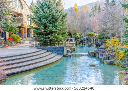 A pond over beautiful outdoor landscape - stock photo