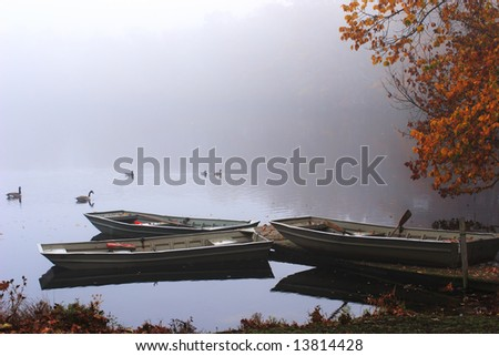 A pond, three boats and flock of geese in the morning fog. Connetquot River State Park Preserve, Long Island, New York. - stock photo