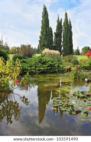 A pond with blossoming lilies. In the mirror of waters reflected cypress. Fabulously beautiful Italian garden Sigurta. - stock photo