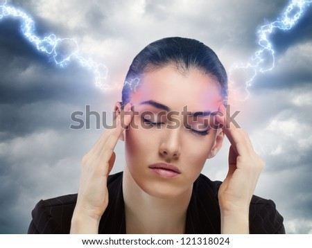 a poor girl suffering from the pain - stock photo