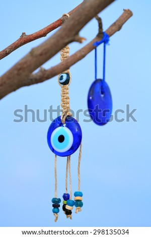 A popular souvenir from Turkey; evil eye, in Cappadocia Nevsehir Turkey - stock photo