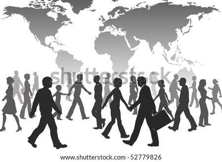 A population of global people silhouettes walk under world map. - stock photo