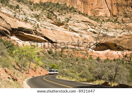 A poropane fueled shuttle bus on the scenic drive in Zion National Park in southwest Utah.
