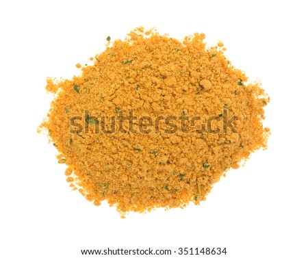 A portion of dry mesquite marinade ingredients isolated on a white background. - stock photo