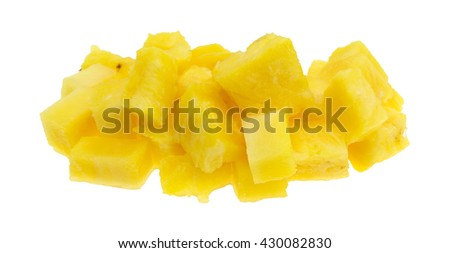 A portion of freshly cut pineapple isolated on a white background. - stock photo