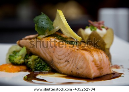 A portion of Grill salmon fish at restaurant