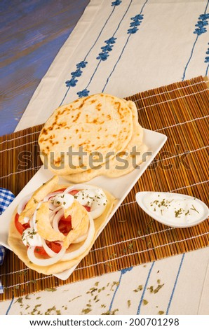 A portion of Gyros snack with pita bread and sauce - stock photo