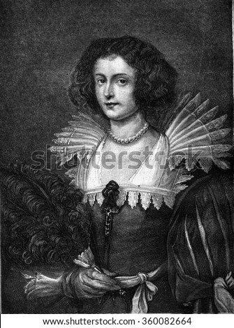 A portrait by Van Dyck, vintage engraved illustration. Magasin Pittoresque 1869. - stock photo