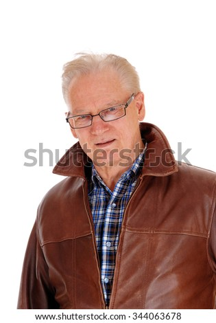A portrait image of a handsome older man with glasses and a brownleather jacket, isolated for white background. - stock photo