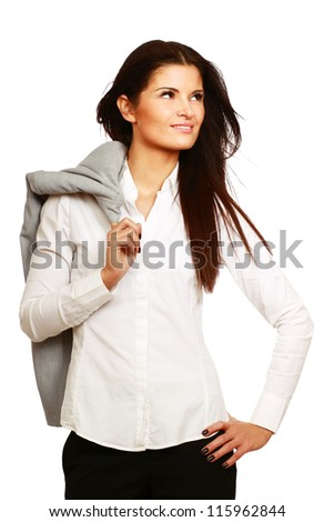 A portrait of a beautiful businesswoman isolated on white background