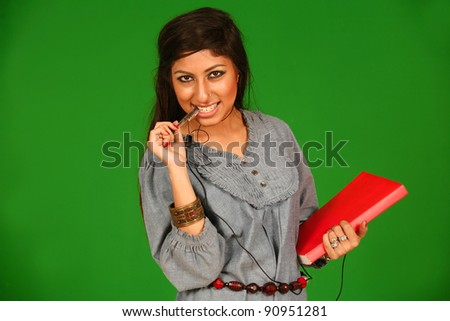 A portrait of a Beautiful college student - stock photo