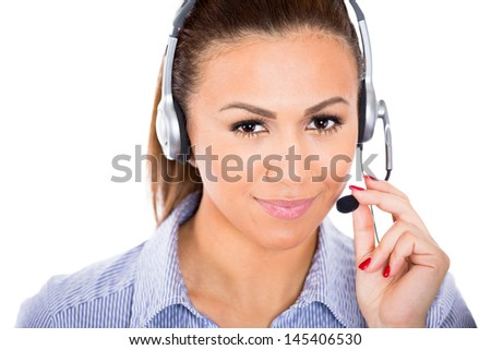 A portrait of a beautiful female customer service representative or operator or help desk support staff wearing a head set isolated on a white background with copy space - stock photo