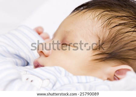 A portrait of a beautiful sleeping baby