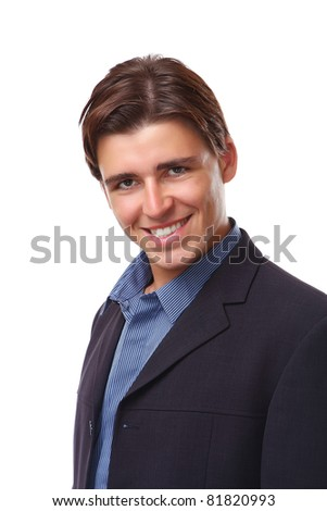 A portrait of a businessman smiling, isolated on white