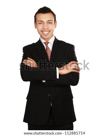 A portrait of a businessman standing isolated on white background