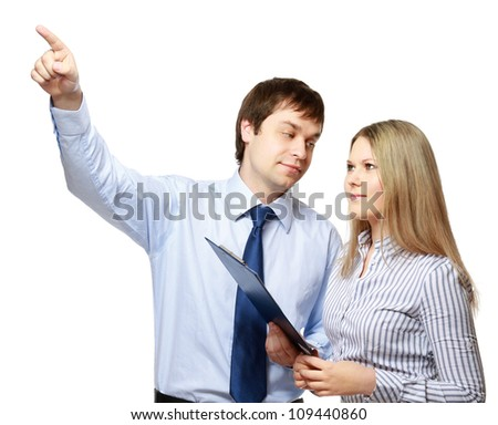 A portrait of a businesswoman and a businessman standing on white background - stock photo