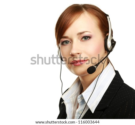 A portrait of a call center employee wearing headset, isolated on white background