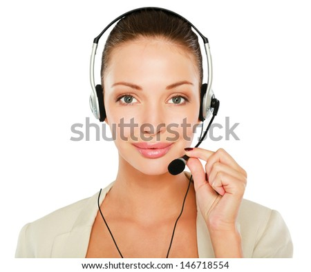 A portrait of a call center employee wearing headset, isolated on white background - stock photo
