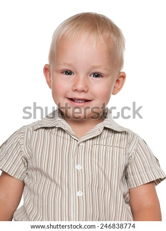 A portrait of a cheerful baby boy on the white background - stock photo